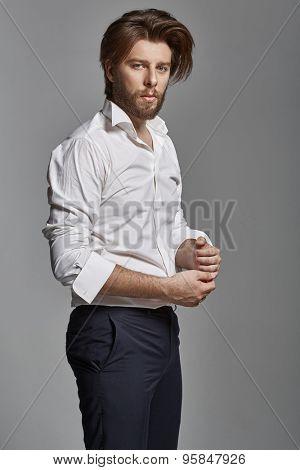 Portrait of  handsome stylish man with beard