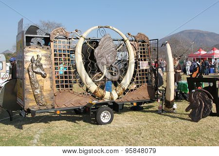 Large African Artwork With Imitation Elephant Tusks On Display At Festival