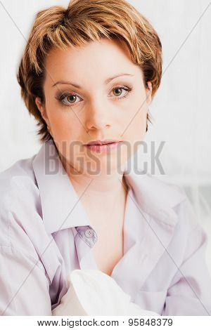 Portrait of nice looking woman
