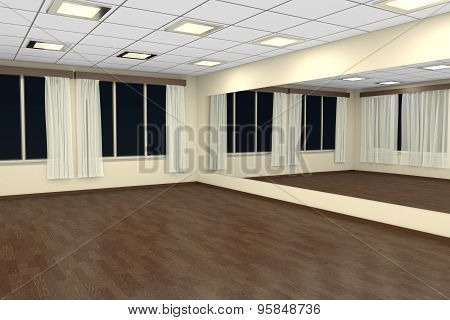 Empty Training Dance-hall At Night With Yellow Walls And Dark Wooden Floor, 3D Illustration