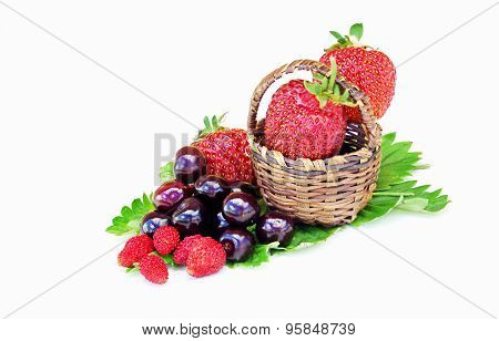 Wild Strawberries Cherries And Strawberries In A Small Basket