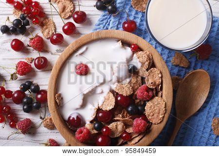 Muesli With Milk And Fresh Berries Close Up Horizontal Top View
