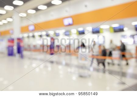 Check-in counters in airport - defocused background