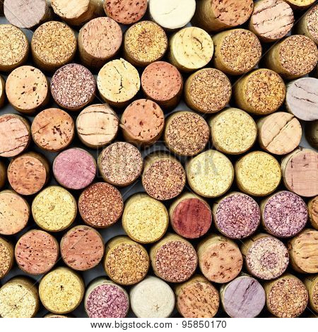Butt ends of wine corks, may be used as background
