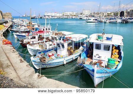 Fishing boats in port in Heraklion, Crete Island, Greece