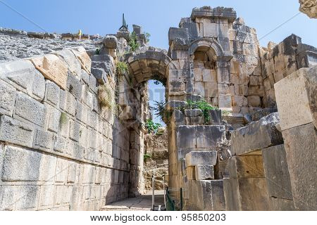 The ruins of the ancient amphitheater in Myra, Turkey.
