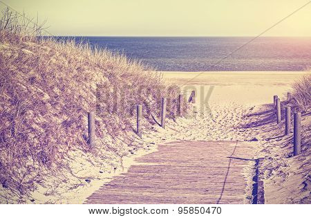 Retro Toned Photo Of A Beach Path, Old Film Style.