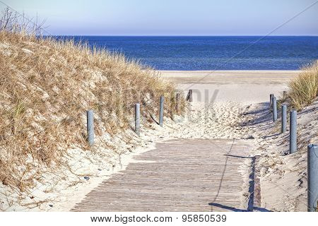 Wooden Sandy Path To The Beach.
