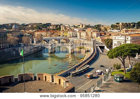 View on Tiber river in Rome, Italy