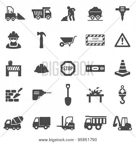 Construction black icons set.Vector