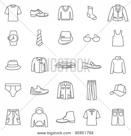 Man Clothes line icons set.Vector