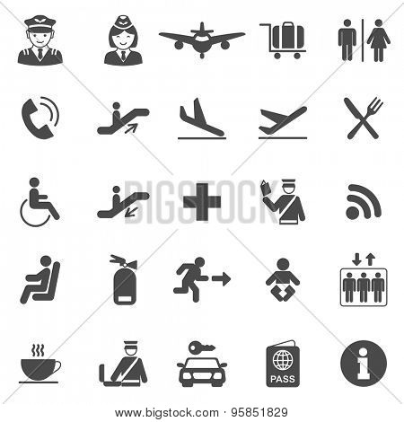 Airport black icons set.Vector