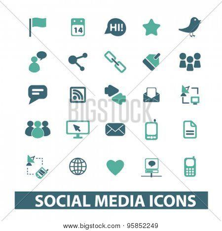 social media icons set, vector