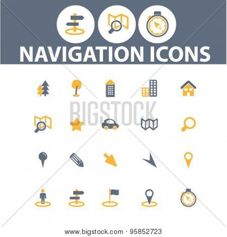 navigation, route icons, signs, illustrations set, vector