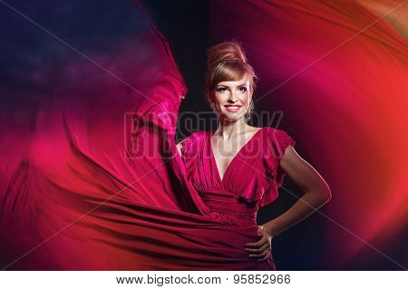 Girl In Evening Dress, With Makeup And Hairdo. Mixed Light.