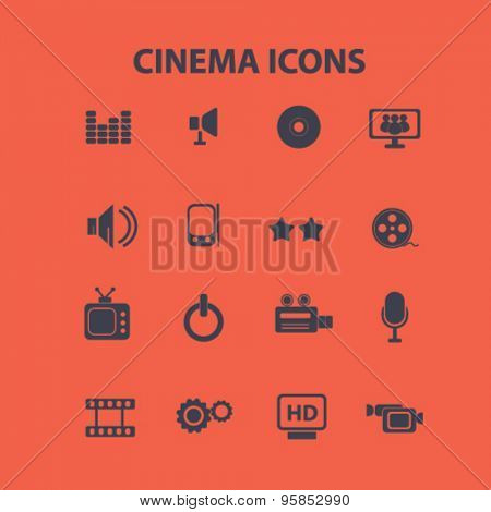 cinema, movie, film icons, signs, illustrations set, vector