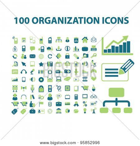 100 organization, management, analytics icons, signs, illustrations set, vector