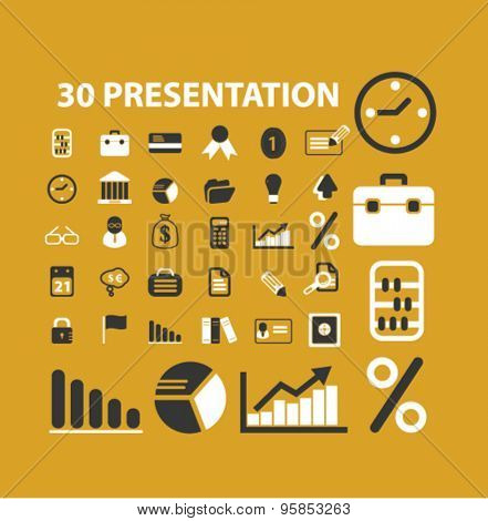 30 presentation, marketing, management icons, signs, illustrations set, vector
