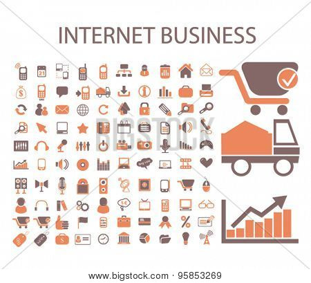internet business, marketing icons, signs, illustrations set, vector