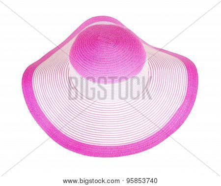 Summer Straw  Pink Hat Isolated
