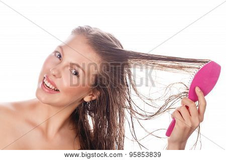Girl With Makeup Comb Hairbrush.