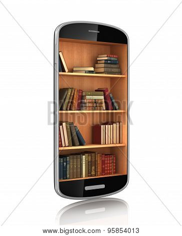 Smartphone With Bookshelf. E-book Library. Education Concept