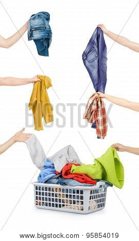 A Laundry Basket Full Of Dirty Clothes Ready To Be Washed During Daily Chores
