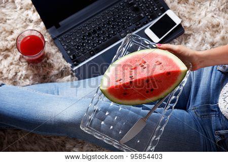 Closeup Of A Slice Of Watermelon