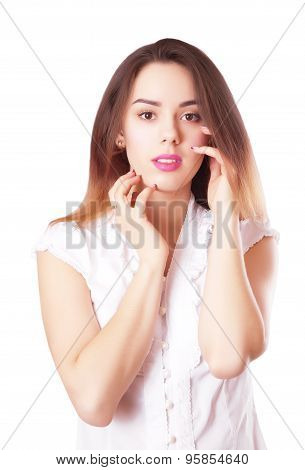 Young Beautiful Woman Portrait With Dark Hair