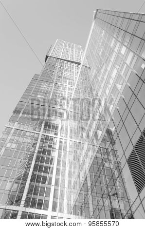 Perspective wide angle view to glass building skyscraper