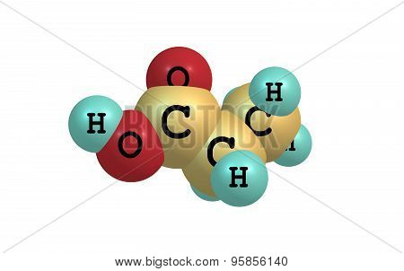 Propionic acid molecule isolated on white
