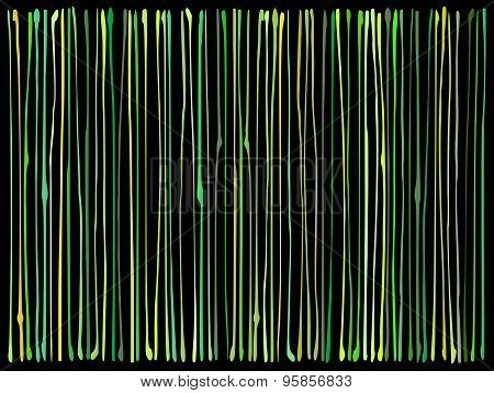 Liquid Organic Green Yellow Lines Pattern Over Black
