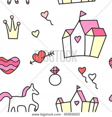 Princess theme seamless pattern
