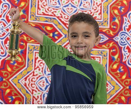 Adorable Boy With Ramadan Lantern
