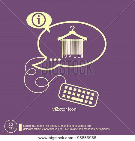 Sale Barcode Clothes Hanger And Keyboard Design Elements