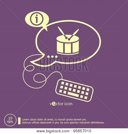 Drum Icon And Keyboard Design Elements