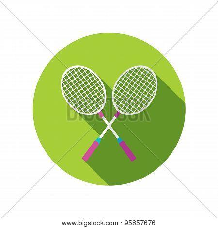 Badminton Racket Flat Icon With Long Shadow