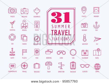 Travel vector icons set. Sea, rout and holiday symbols. Stock design elements