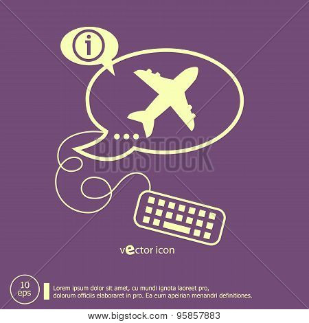 Airplane And Keyboard Design Elements