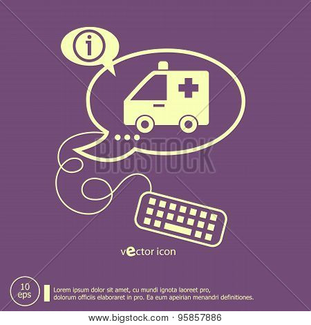 Ambulance Icon And Keyboard Design Elements