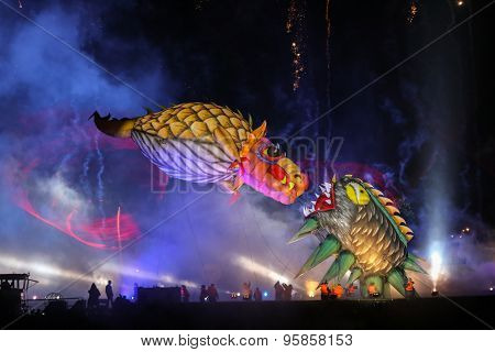 KRAKOW POLAND - MAY 30 2015: Yearly Great Dragons Parade connected with the fireworks display taking place on the river Vistula at Wawel. Cracow Poland