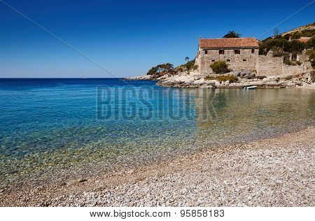 Beach In The Adriatic Sea On The Island Of Hvar, Croatia
