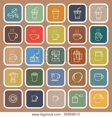 Coffee Line Flat Icons On Brown Background