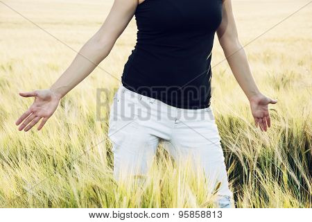 Woman Is Smoothing The Wheat Cobs