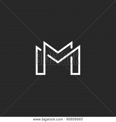 Letter M Logo Or Two Modern Monogram Symbol, Mockup Black And White Business Card