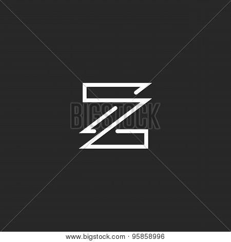 Letter Z Logo Mockup Monogram Overlapping Style Business Card,