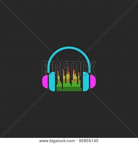 Dj Headphones And Equalizer Sign, Mockup Sound Wave Element For Party Poster