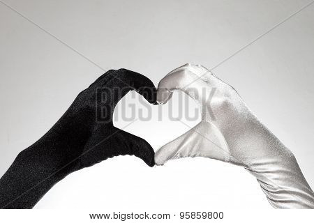 Black And White Elegant Women's Heart Shaped Gloves On White Background