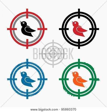 Bird Icon On Target Icons Background