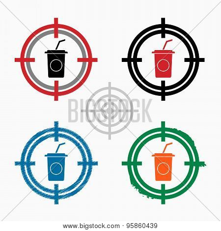 Soft Drink Icon On Target Icons Background